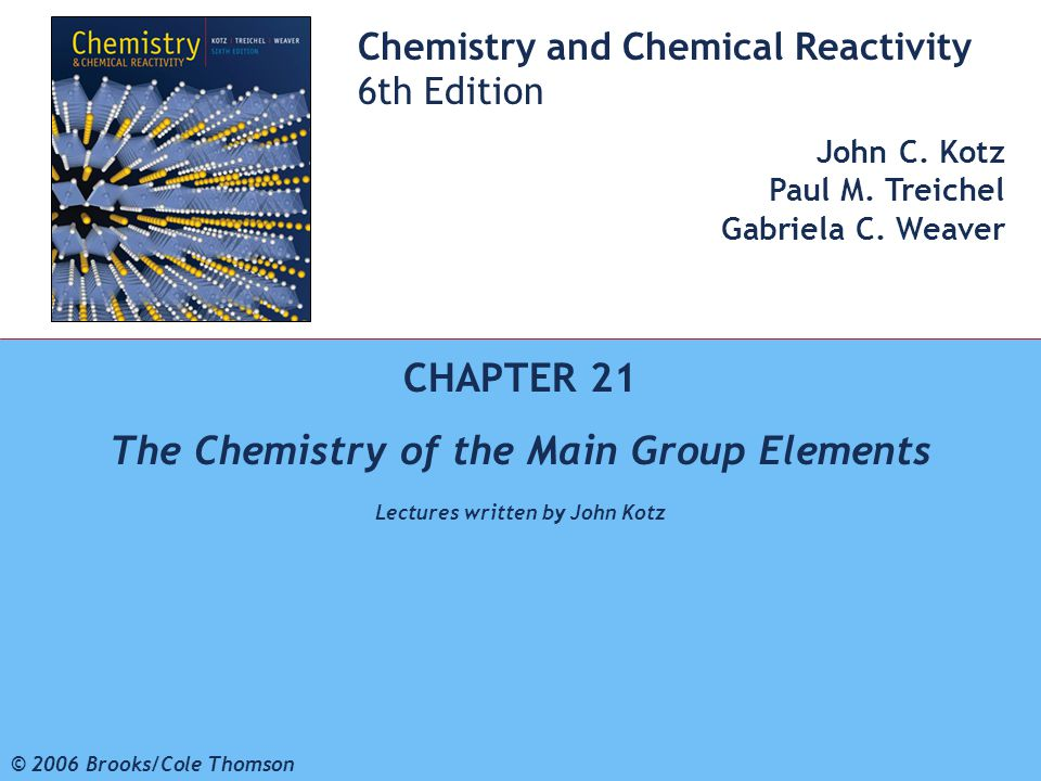 The Chemistry of the Main Group Elements Lectures written by John Kotz