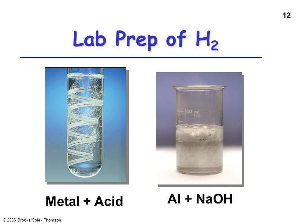 Lab Prep of H2 Al + NaOH Metal + Acid