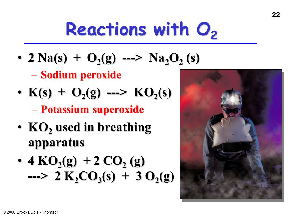 Reactions with O2 2 Na(s) + O2(g) ---> Na2O2 (s)