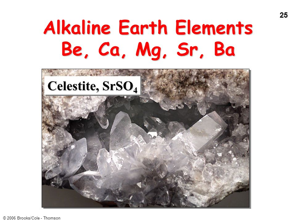 Alkaline Earth Elements Be, Ca, Mg, Sr, Ba