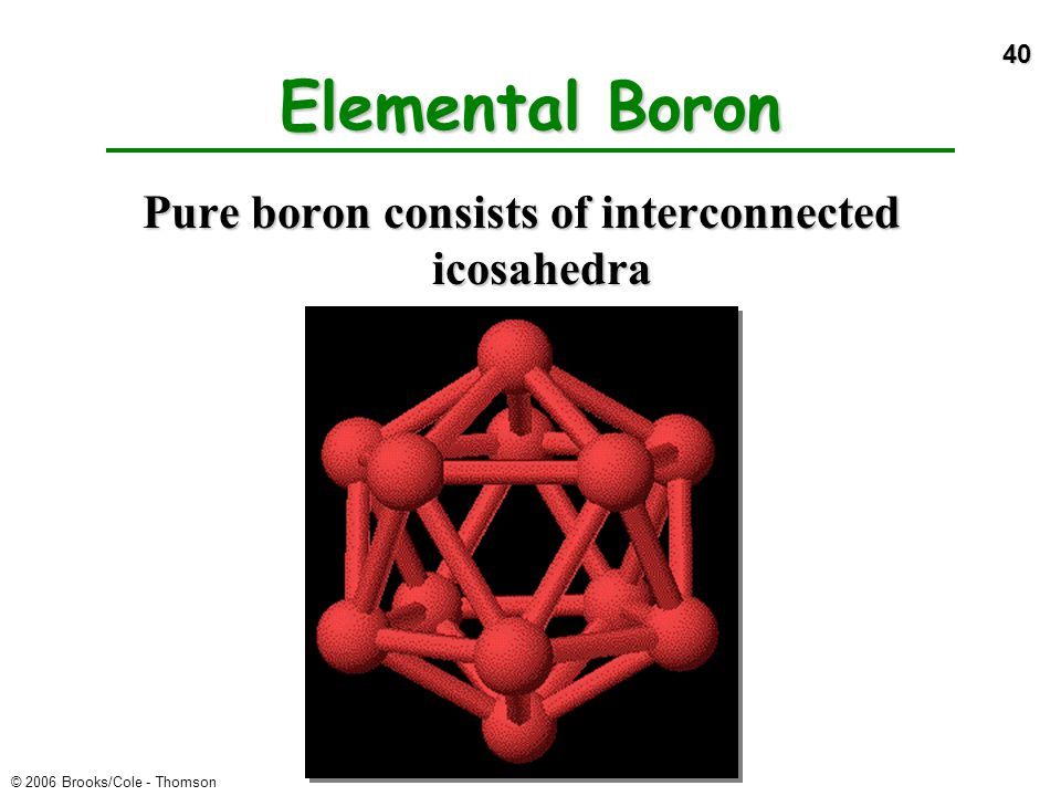 Pure boron consists of interconnected icosahedra