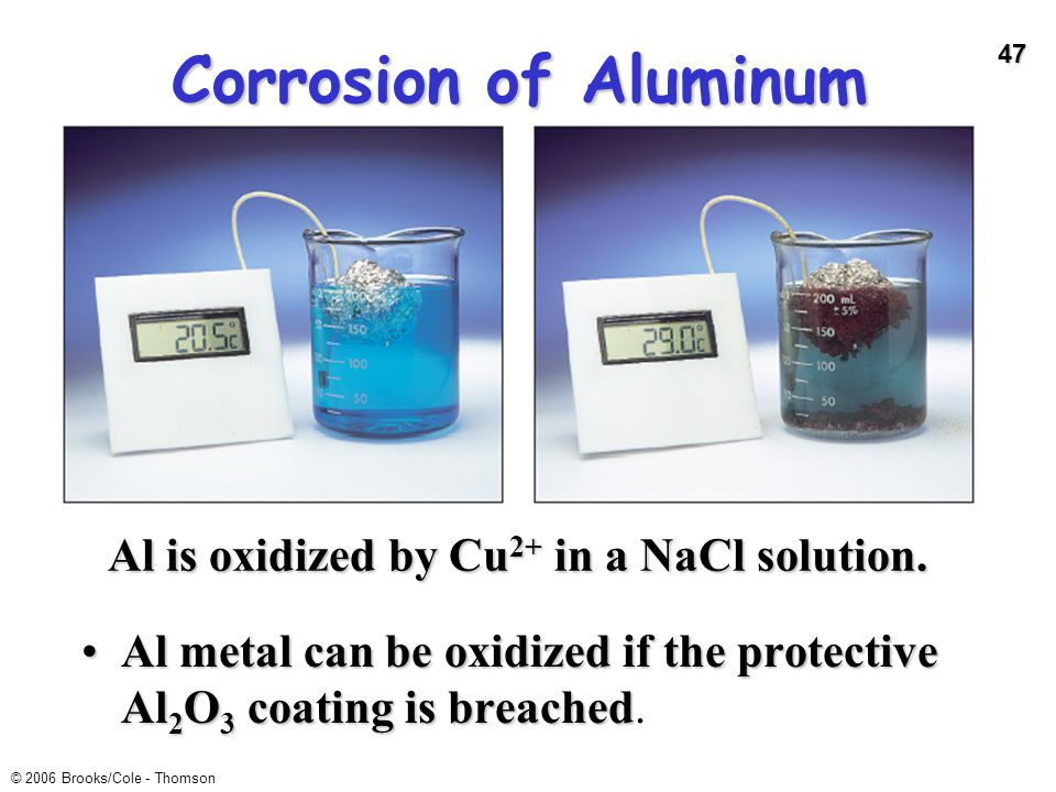 Corrosion of Aluminum Al is oxidized by Cu2+ in a NaCl solution.
