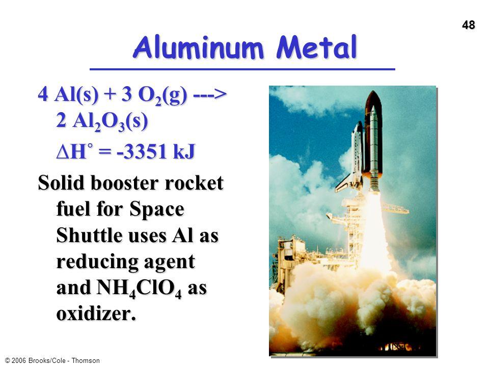 Aluminum Metal 4 Al(s) + 3 O2(g) ---> 2 Al2O3(s) ∆H˚ = -3351 kJ