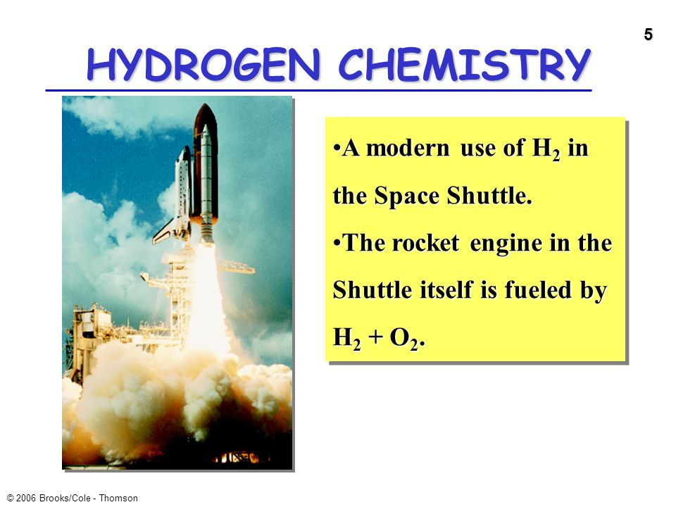 HYDROGEN CHEMISTRY A modern use of H2 in the Space Shuttle.