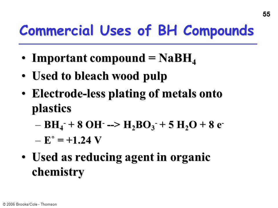 Commercial Uses of BH Compounds