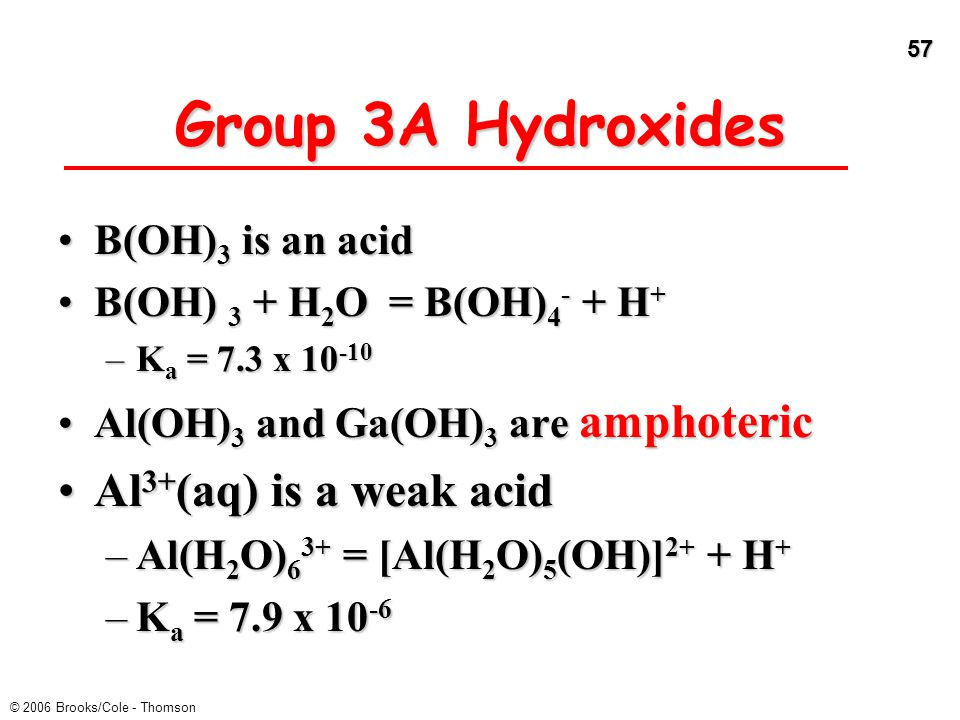 Group 3A Hydroxides Al3+(aq) is a weak acid B(OH)3 is an acid