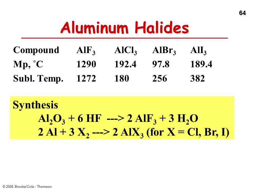 Aluminum Halides Synthesis Al2O3 + 6 HF ---> 2 AlF3 + 3 H2O