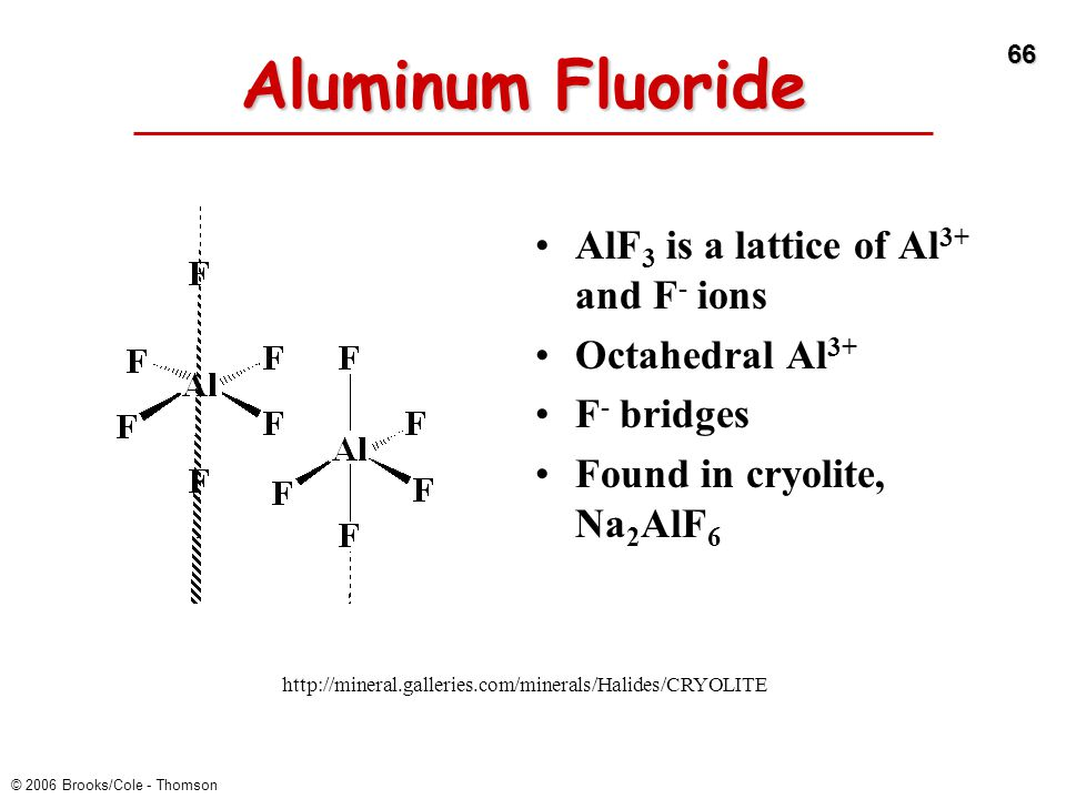 Aluminum Fluoride AlF3 is a lattice of Al3+ and F- ions