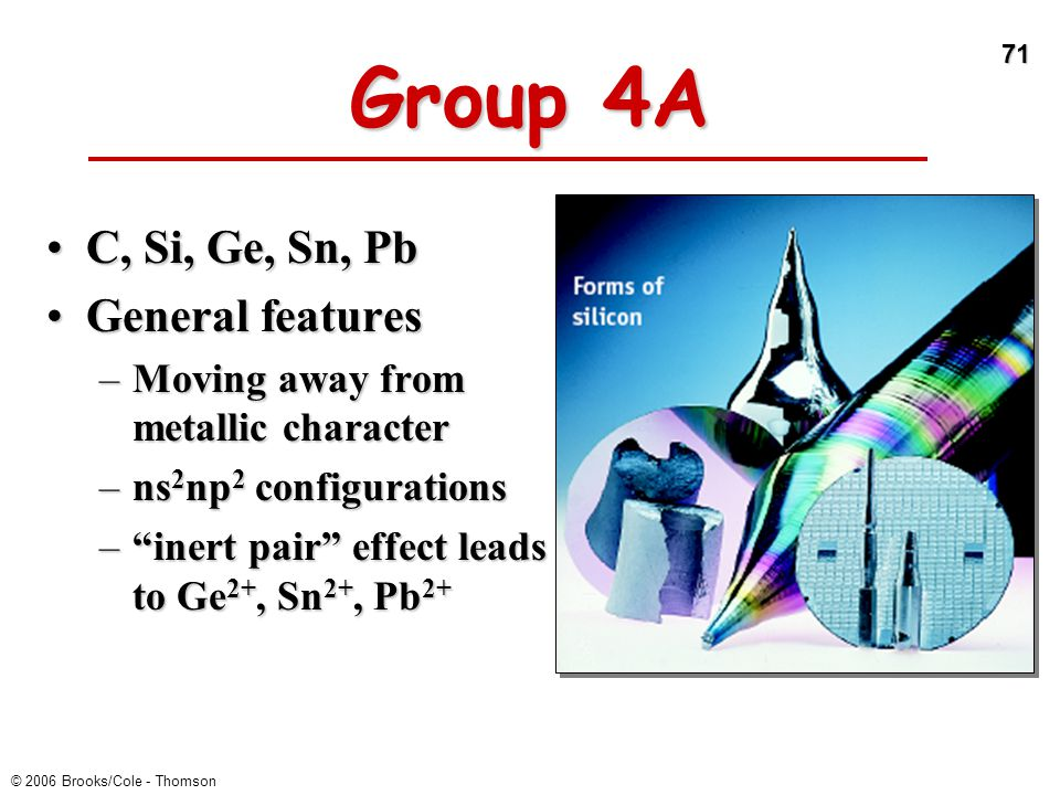 Group 4A C, Si, Ge, Sn, Pb General features