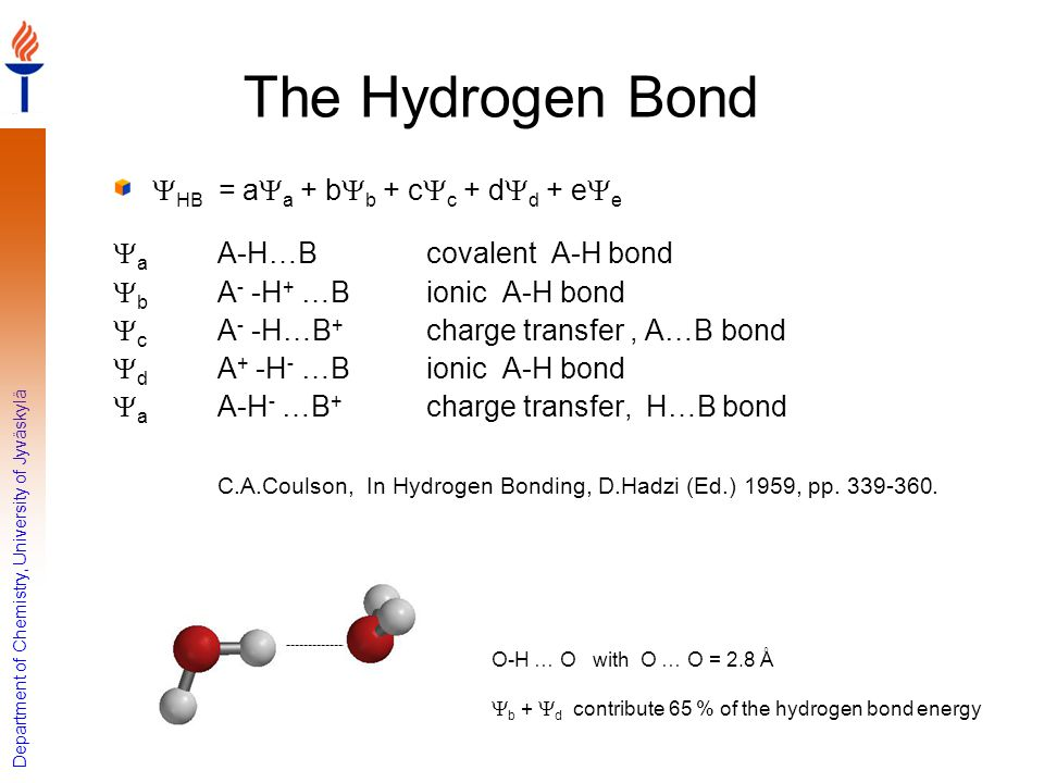The Hydrogen Bond YHB = aYa + bYb + cYc + dYd + eYe