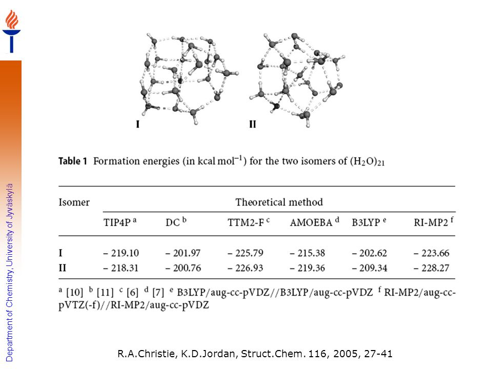 R.A.Christie, K.D.Jordan, Struct.Chem. 116, 2005, 27-41