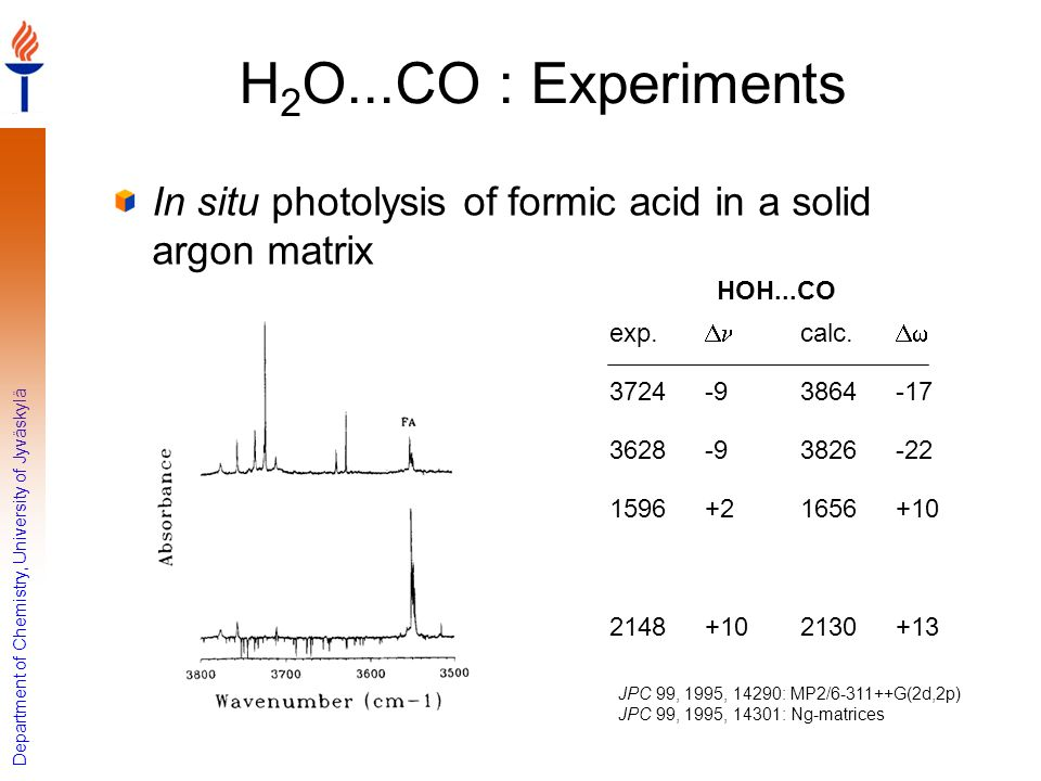 H2O...CO : Experiments In situ photolysis of formic acid in a solid argon matrix. +13. 2130. +10.