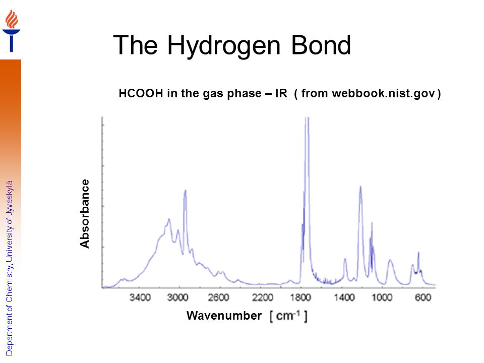 The Hydrogen Bond HCOOH in the gas phase – IR ( from webbook.nist.gov ) Absorbance Wavenumber