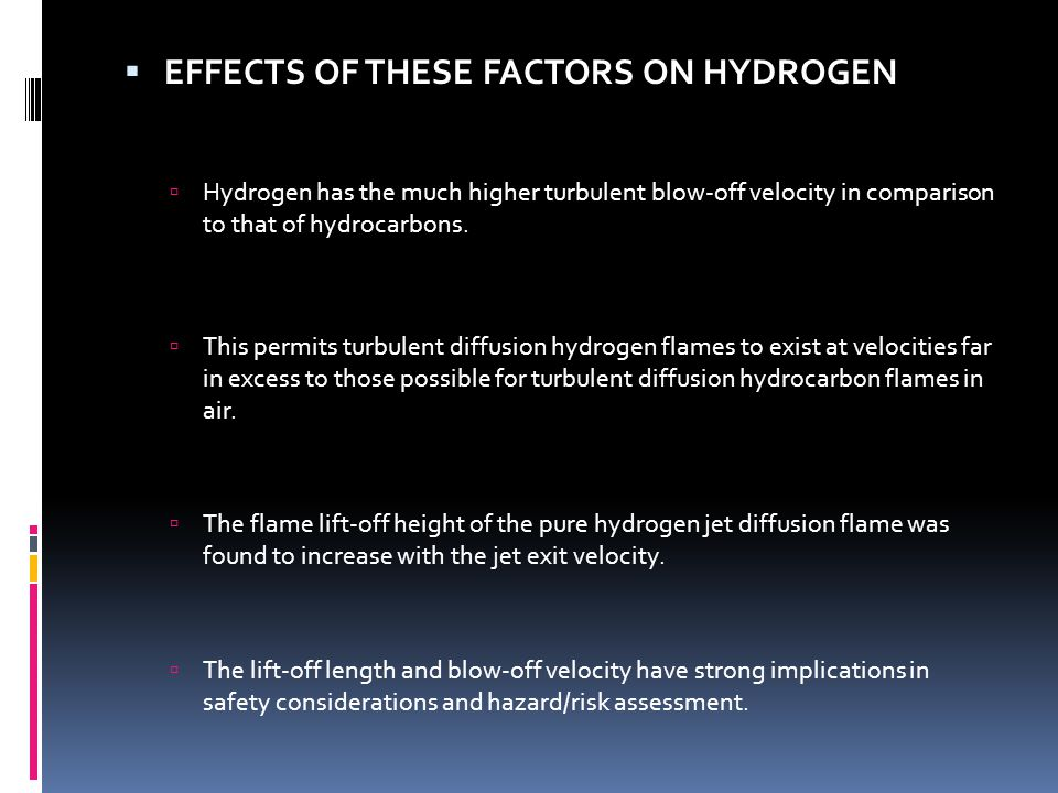 EFFECTS OF THESE FACTORS ON HYDROGEN