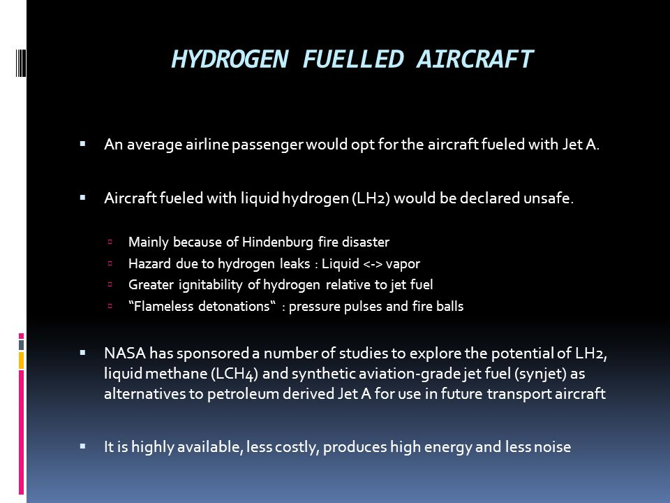 HYDROGEN FUELLED AIRCRAFT