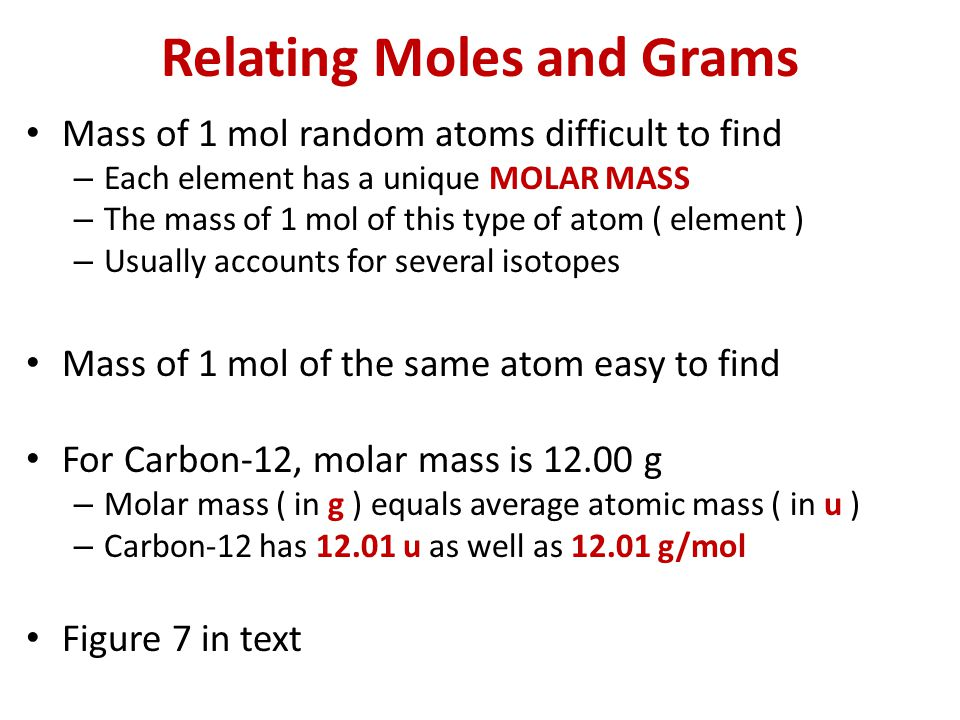 Relating Moles and Grams