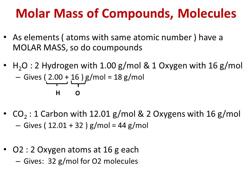 Molar Mass of Compounds, Molecules