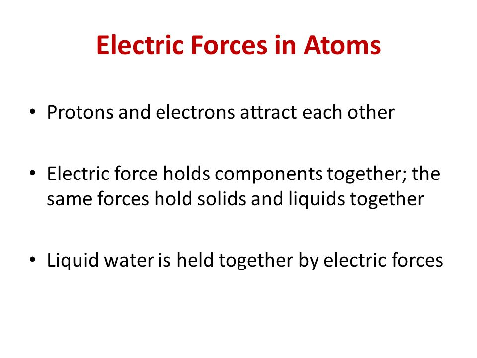 Electric Forces in Atoms