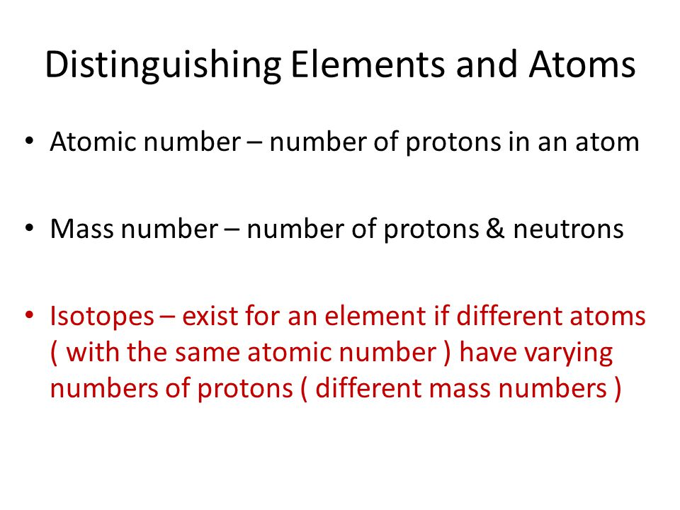 Distinguishing Elements and Atoms