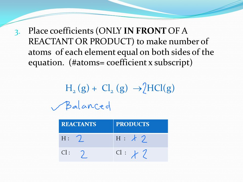 Place coefficients (ONLY IN FRONT OF A REACTANT OR PRODUCT) to make number of atoms of each element equal on both sides of the equation. (#atoms= coefficient x subscript)
