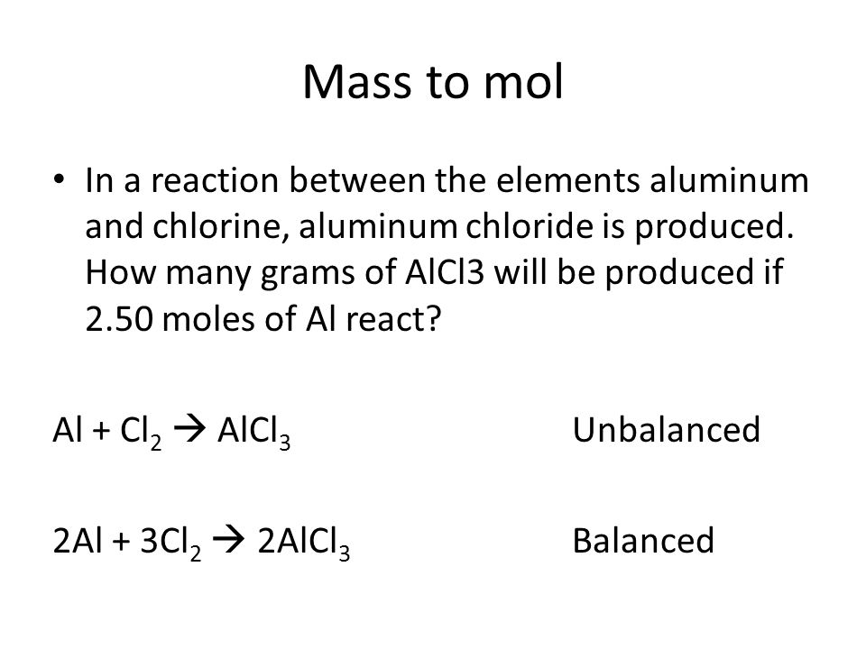 Mass to mol