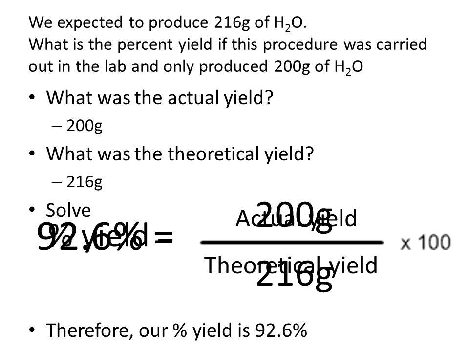92.6% = 200g 216g % yield = Actual yield Theoretical yield