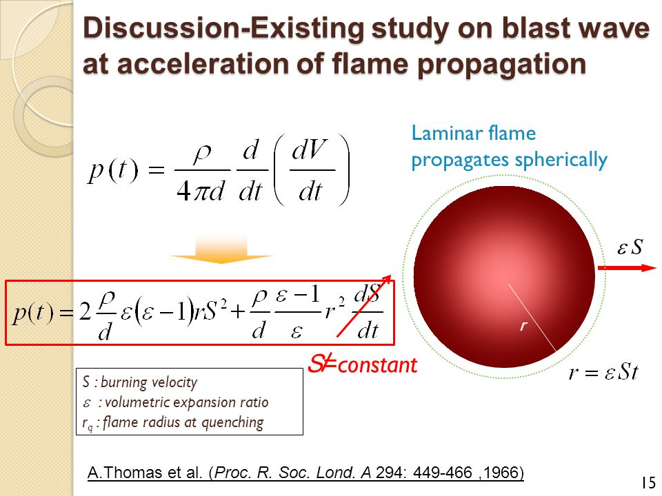 Discussion-Existing study on blast wave at acceleration of flame propagation