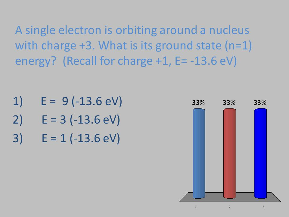 A single electron is orbiting around a nucleus with charge +3