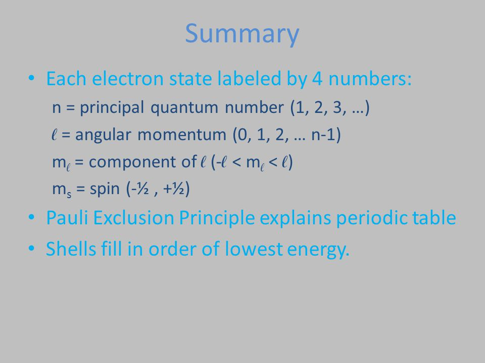 Summary Each electron state labeled by 4 numbers: