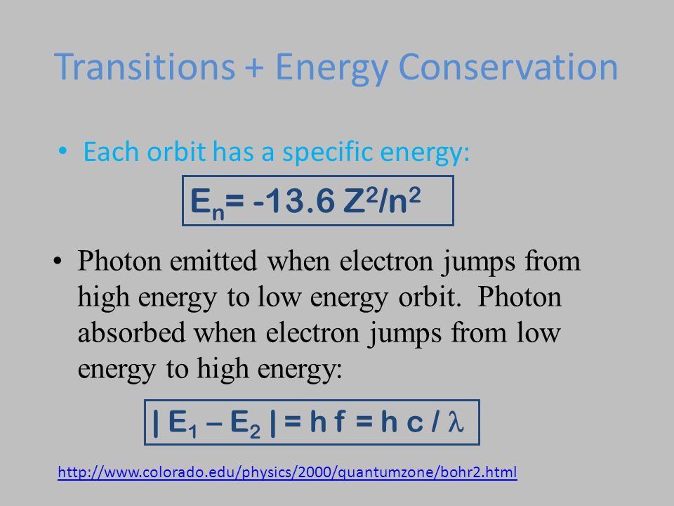 Transitions + Energy Conservation