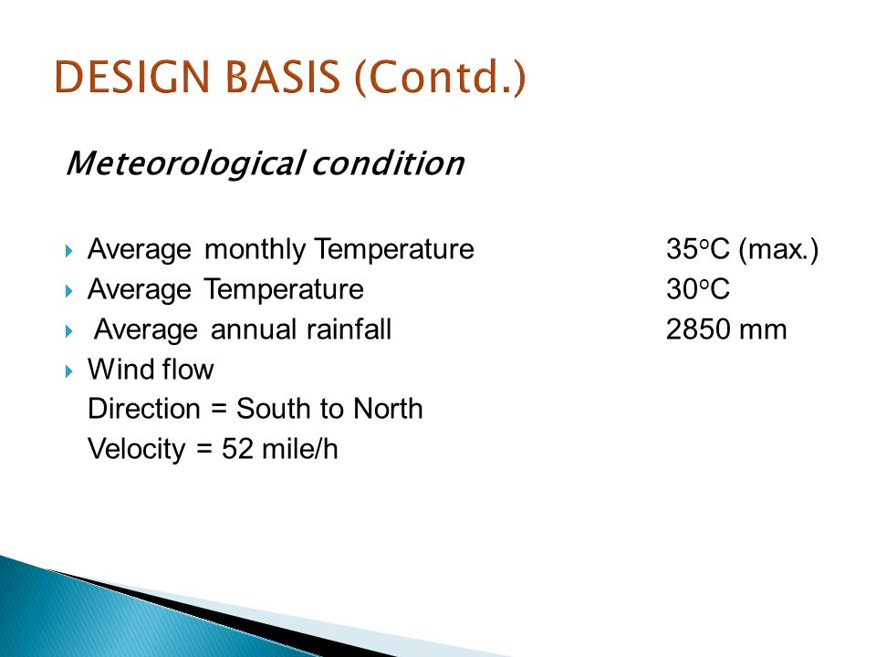 DESIGN BASIS (Contd.) Meteorological condition