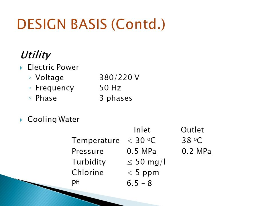DESIGN BASIS (Contd.) Utility Electric Power Voltage 380/220 V