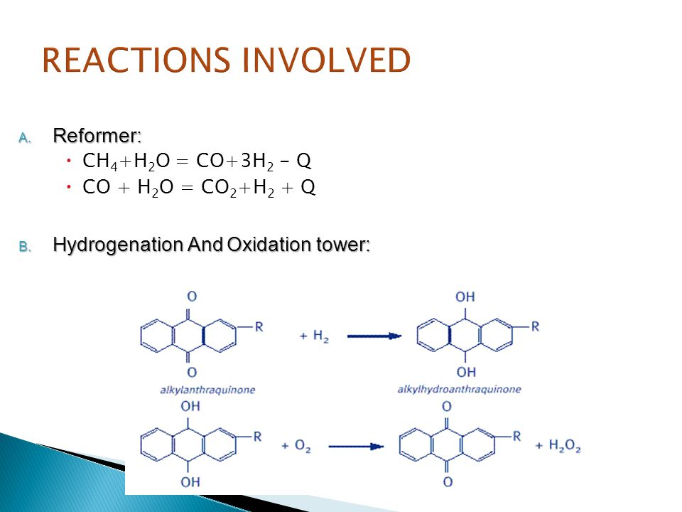 REACTIONS INVOLVED Reformer: Hydrogenation And Oxidation tower: