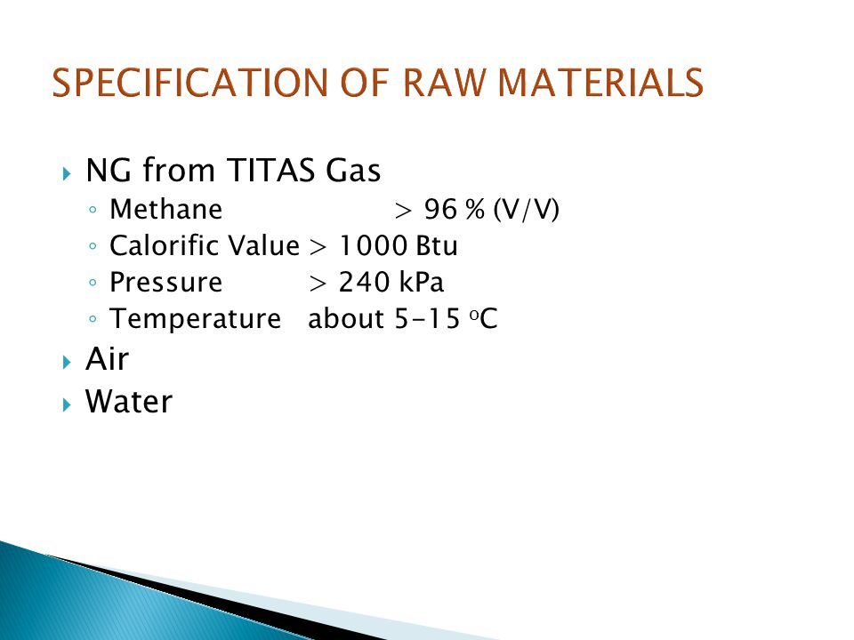 SPECIFICATION OF RAW MATERIALS