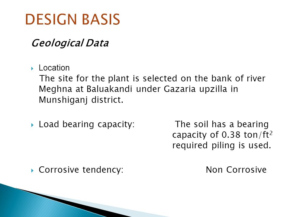 DESIGN BASIS Geological Data
