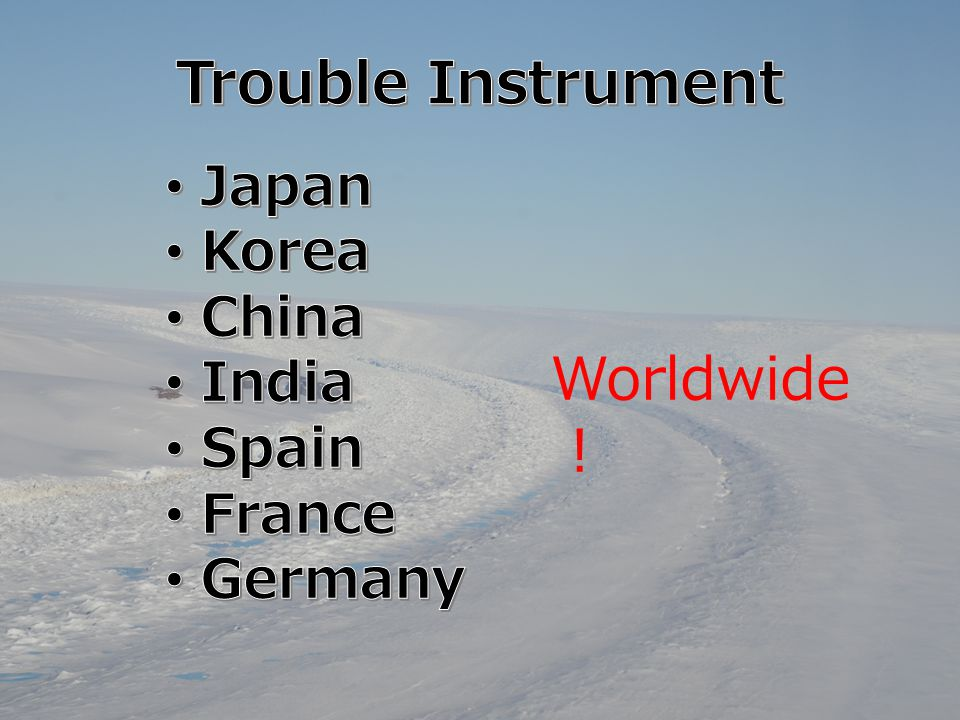 Trouble Instrument Worldwide! Japan Korea China India Spain France