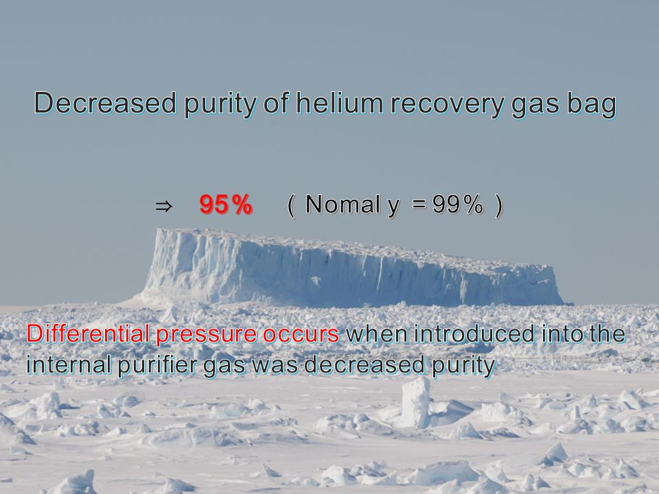 Decreased purity of helium recovery gas bag