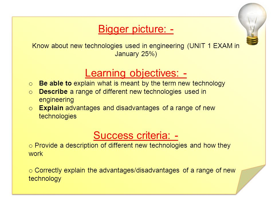 Learning objectives: -
