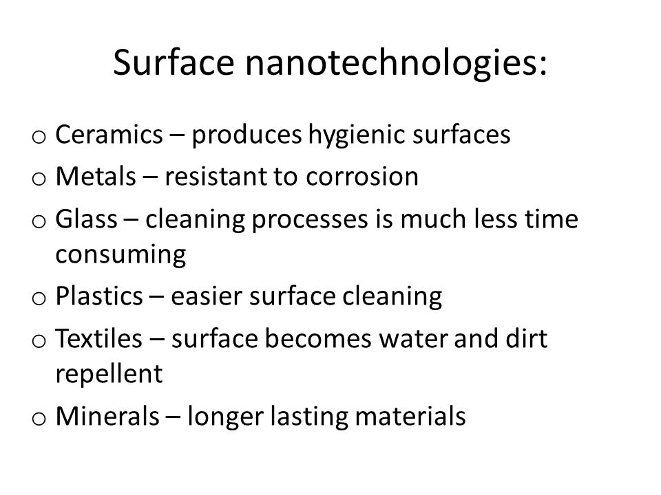 Surface nanotechnologies: