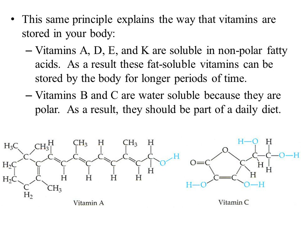 This same principle explains the way that vitamins are stored in your body: