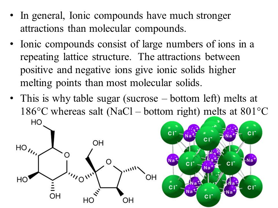 In general, Ionic compounds have much stronger attractions than molecular compounds.