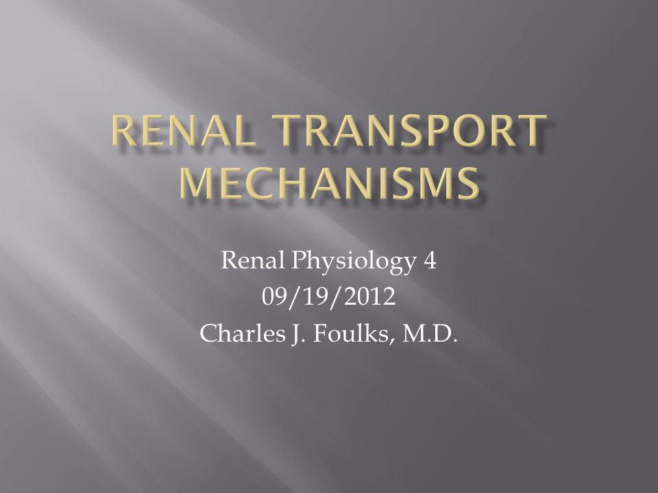 Renal Transport Mechanisms