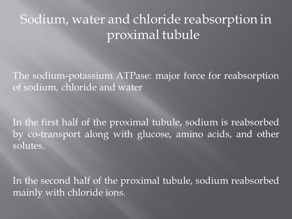 Sodium, water and chloride reabsorption in proximal tubule