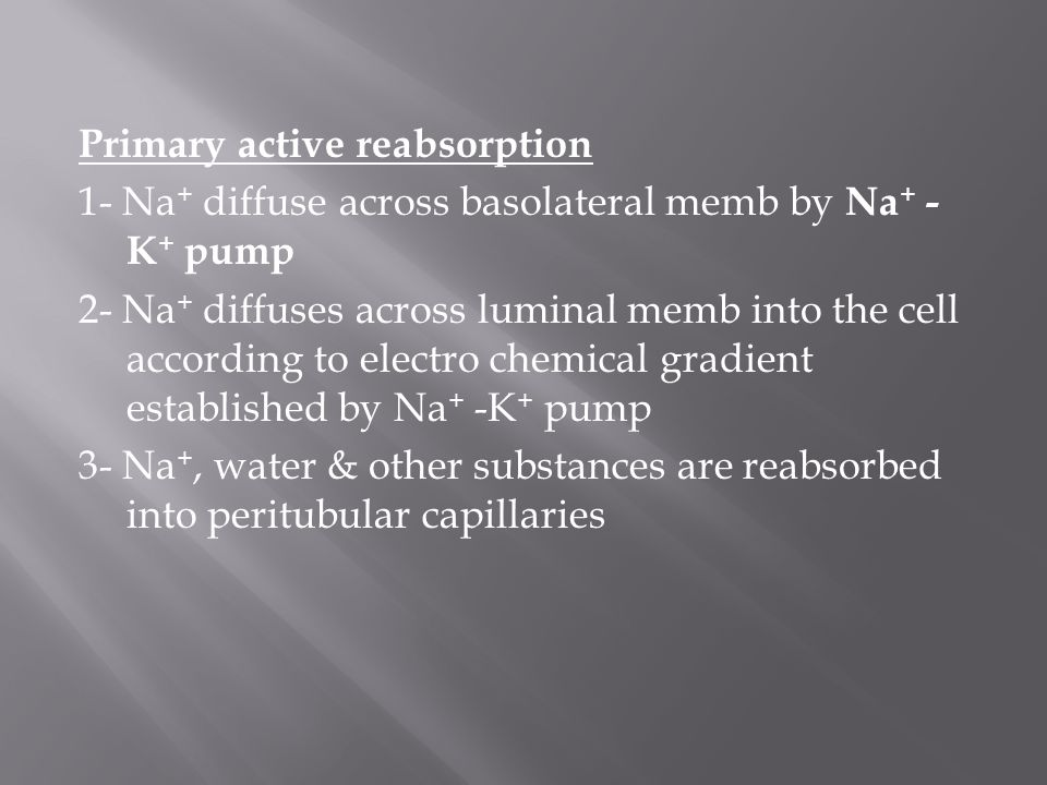 Primary active reabsorption