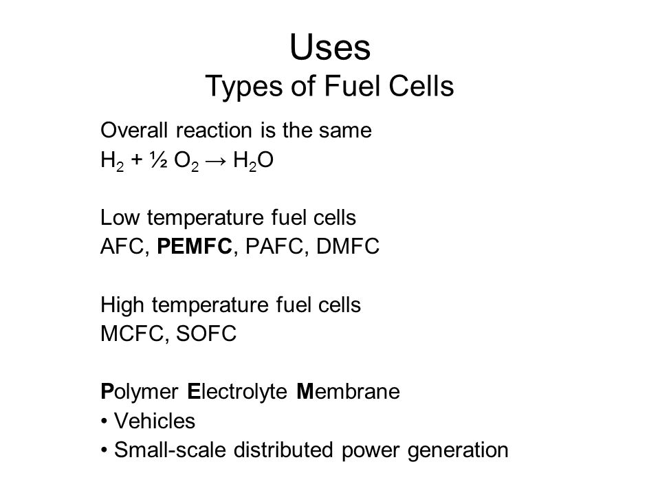 Uses Types of Fuel Cells