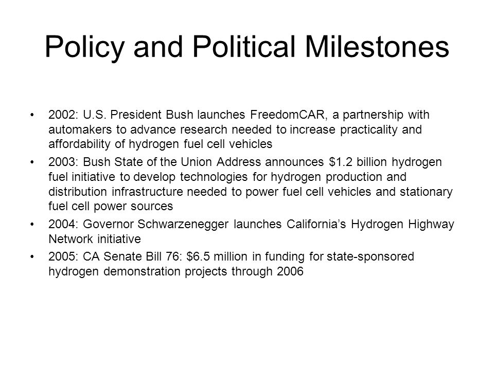Policy and Political Milestones