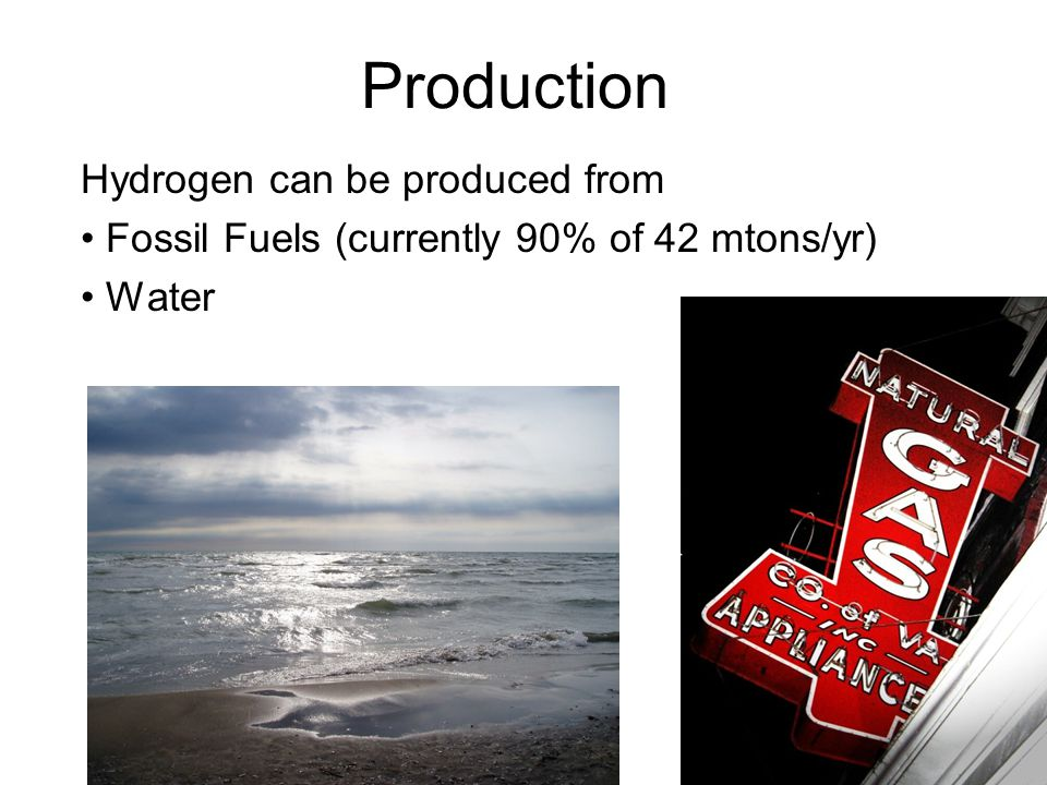Production Hydrogen can be produced from