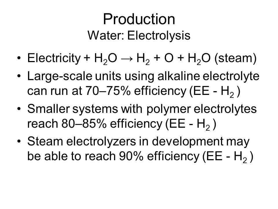 Production Water: Electrolysis