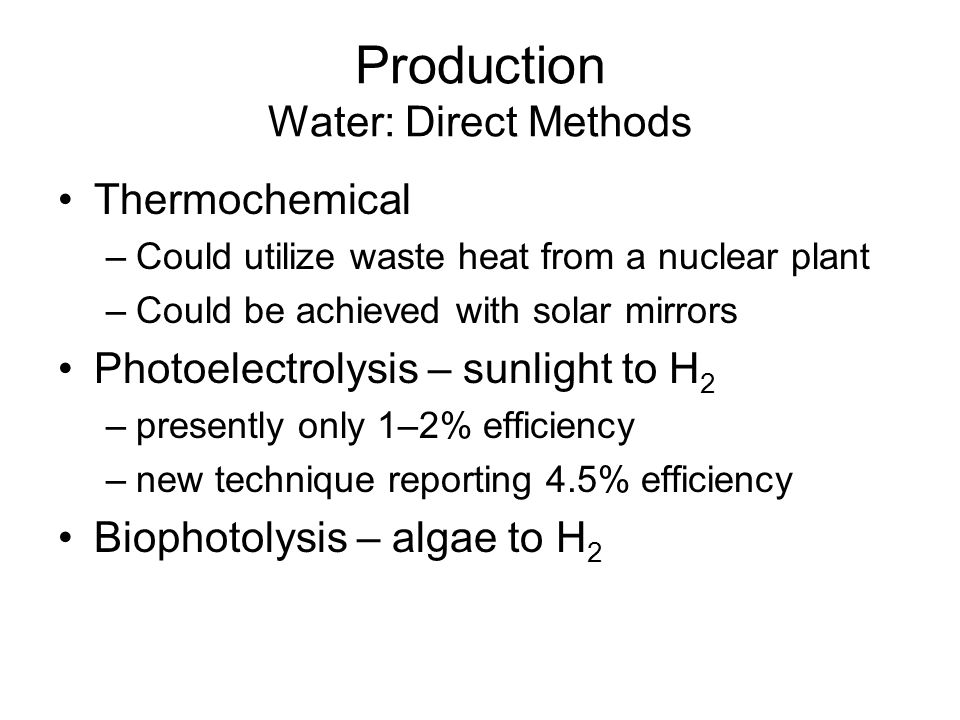 Production Water: Direct Methods
