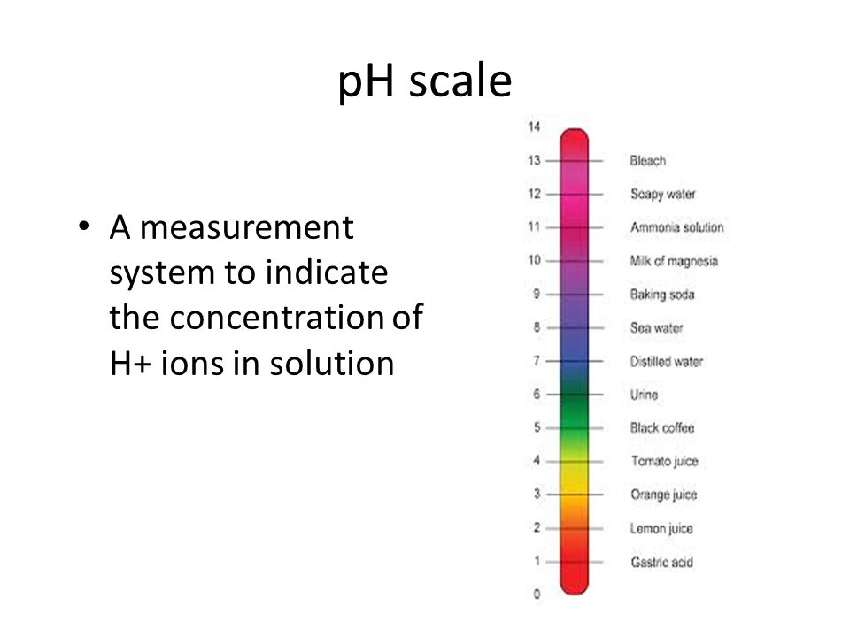 pH scale A measurement system to indicate the concentration of H+ ions in solution